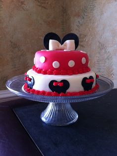 Minnie Mouse Theme Cake by KatCakery on Etsy, $125.00