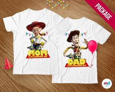 TOY STORY Mom and Dad T-Shirts Transfer Iron On Birthday Party Theme Printables . - Toys for years old happy toys Woody Birthday, Birthday Boy Shirts, Toy Story Birthday, 3rd Birthday Parties, Birthday Candy, Birthday Ideas, 4th Birthday, Toy Story Party, Toy Story Theme