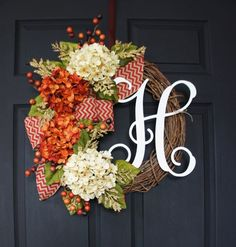 Beautiful Monogramed Wreath and 9 other fall wreaths