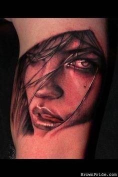 3d face tattoo portrait