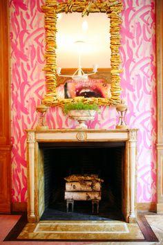 Love white & bubble gum pink Wallpaper meets rustic. Fun!.