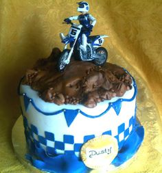 dirtbike smash cake | yellow rose 8th Birthday, Birthday Ideas, Dirt Bike Party, Yellow Roses, Cake Smash, Birthday Party Decorations, Baby Boy Shower, Atv, Gabriel