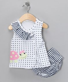 Take a look at this White Polka Dot Ladybug Wrap Dress & Bloomers by Rumble Tumble on #zulily today!