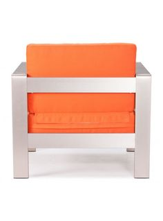 Zuo Modern Cosmopolitan Armchair Cushions Orange (also red, lime): Framed chair, thick cushion, wide frame (back view) Cosmopolitan, Armchair, Lime, Cushions, Outdoor Furniture, Orange, Modern, Red, Inspiration