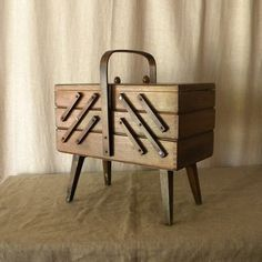 Vintage French fold-out sewing box. For my modern rustic house that I will have one day.