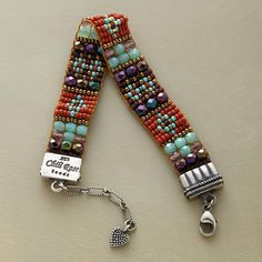 "GEM TAPESTRY BRACELET -- Adonnah Langer's intricate, vibrantly colored design is hand loomed with Czech and Japanese seed beads, Czech fire-polished beads and brass beads. Sterling silver tips, clasp, extender chain and heart charm. USA. Exclusive. 6-1/2"" to 7-1/2""L."