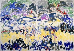 Joan Mitchell -River, 1989  Oil on canvas  Diptych  279.4 x 400 cm / 110 x 157 1/2 in  2 parts, each 279.4 x 200 cm / 110 x 78 3/4 in