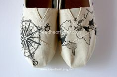 Custom Painted TOMS Shoes  Travel Compass and World by ibleedheART, $110.00