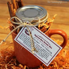 Make A Hot Drink Mix Gift Jar. Easy, inexpensive, & yummy!
