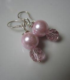 Rosie Bridal Pearl Earrings Rose Pink Pearl & by ScarlettRose. $12.00, via Etsy.