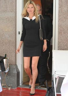 Kate Moss pictured leaving George's restaurant in Mayfair, London, in a little black dress