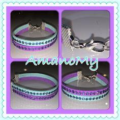 Bracciale#bracelet#strass#swarovski#handmade#jewels#bijoux#tiffany#viola#purple#alcantara#regalo#