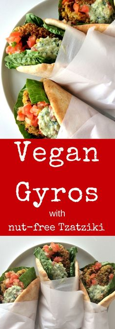 Easy vegan gyros made with seasoned chickpea falafels, stuffed into warm pitas and topped with nut free tzatziki sauce. A simple, tasty lunch or weeknight dinner. Veggie Recipes, Whole Food Recipes, Vegetarian Recipes, Cooking Recipes, Healthy Recipes, Pita Recipes, Vegan Foods, Vegan Dishes, Tzatziki Sauce