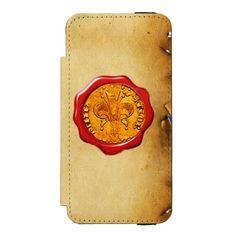 ANTIQUE GOLD FLORENTINE FORINT REDWAX SEALMONOGRAM INCIPIO WATSON™ iPhone 5 WALLET CASE