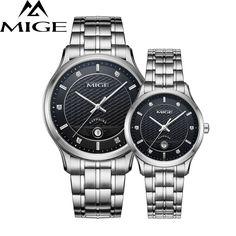 >> Click to Buy << MIGE Luxury Men Women Watches Quartz Wristwatch Synthetic Sapphire Crystal Calendar Rhinestone Stainless Steel Bracelet Relogio #Affiliate