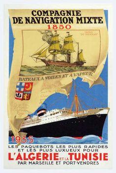 Affiche Algérie - Cie de Navigation Mixte - L'Algérie et la Tunisie 1935