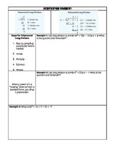 Guided Notes Polynomial Division