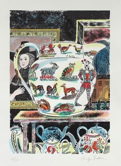 'Lumber Room Jug II' by Emily Sutton (hand-coloured line block print)