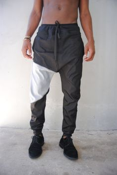 1cf41f51570 Black Denim Drop Crotch Harem Pants   Lightweight   by GAGTHREADS Jogger  Pants