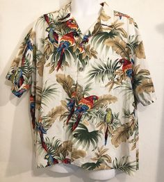 99afc445 mens hawaiian button front parrot shirt Size L #DesignsByMonika  #ButtonFront #hawaiianshirt #hawaii