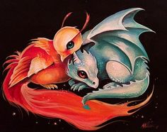 Little Dragon Little Phoenix oh my so cute, makes me think of my favorite 2 series, Harry potter & eragon