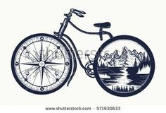 Symbol of travel, tourism, adventure. Compass and mountains … Bicycle tattoo art. Symbol of travel, tourism, adventure. Compass and mountains in bicycle wheels t-shirt design Cycling Tattoo, Bicycle Tattoo, Bike Tattoos, Cycling Art, Cool Tattoos, Urban Cycling, Indoor Cycling, Bicycle Wheel, Bicycle Art