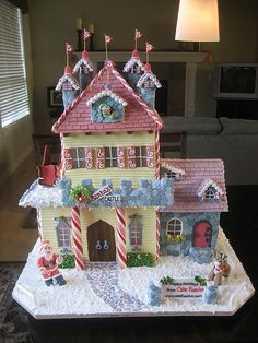 "Santa's Gingerbread Castle (I wish I was talented enough to create something like this! My gingerbread skills are strictly Halloween so if it looks ""off"" you can chalk it up to the holiday) Gingerbread Village, Christmas Gingerbread House, Gingerbread Man, Christmas Home, Gingerbread Cookies, Christmas Crafts, Christmas Decorations, Winter Christmas, Cookie House"