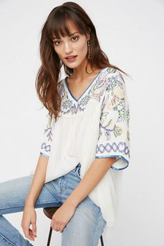 4616bc35 Sunset Lovers Beaded Top Boho Chic Embroidery Tops Solid Loose V Neck Half  Sleeve Ethnic Gypsy Blouse Female Casual Shirts Top