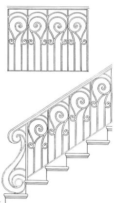 Stair Railing Design Drawings: Inspirations For You Balcony Or Bannister Iron Stair Railing, Stair Railing Design, Stair Handrail, Wrought Iron Gate Designs, Wrought Iron Gates, Interior Railings, Interior Stairs, Porch Railing Designs, Grill Gate Design