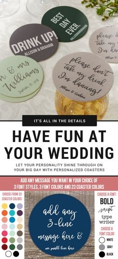 LOVE these! Every bride should get these! You can incorporate your fun personality into your wedding with these Personalized Wedding Paper Coasters! You can add any 4-line message and you can customize them in your wedding colors so they match your décor perfectly! Great to use for the engagement party, bridal shower, the cocktail hour at the wedding, or during the actual wedding itself!