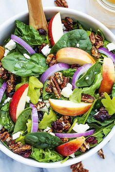 Apple pecan salad with maple vinaigrette creme de la crumb. Apple Salad Recipes, Slaw Recipes, Healthy Salad Recipes, Apple Walnut Salad, Keto Crockpot Recipes, Cooking Recipes, Cranberry Salad, Side Salad, Maple Vinaigrette