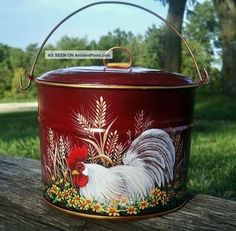Vtg Tin Berry Pail Lunch Bucket Hp Red Rooster Daisies Wheat Hand Painted Primitives photo