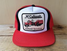 742c0ae44a9 Items similar to McCULLOUGH OILFIELD SERVICES Vintage 80s Trucker Hat Red Mesh  Snapback Baseball Cap Fuel Tanker Truck Lucky Stripe Patch Yupoong Ballcap  on ...