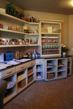 "Needs more light, but open shelves good for putting baskets of ""stuff"""