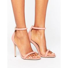 Missguided Barely There Heeled Sandal (41 CAD) ❤ liked on Polyvore featuring shoes, sandals, pink, ankle strap high heel sandals, strappy heeled sandals, ankle wrap sandals, pink sandals and open toe sandals