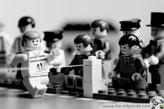 A Lego version of Norman Potter's 1954 photograph of Roger Bannister breaking the four-minute mile, completing the distance in 3 min 59.4 sec at Oxford, Oxfordshire, England, May 6, 1954.