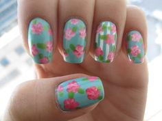Vintage Floral Nail Designs Stylish
