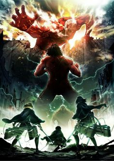 Armin, Eren, Mikasa, Levi, Titan form, Titans, Colossal Titan, wall, cool, season 2 poster; Attack on Titan