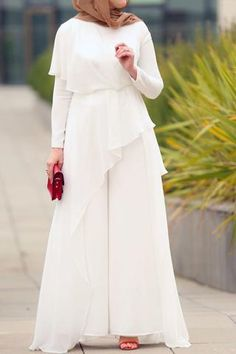 It is indeed the best version of modest jumpsuit: palazzo pants are covered Awesome White Jumpsuit Modest Maxi Dress, Cheap Maxi Dresses, Maxi Dress With Sleeves, Chiffon Dress, Casual Dresses, Long Dresses, Shirt Dress, Chiffon Blouses, Floral Dresses