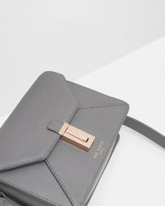 Leather cross body bag - Gunmetal   Bags   Ted Baker