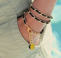 Boho Woven GOLD Chain Triple Wrap Bracelet / Necklace - BLACK Faux Suede Cord - 11X6mm Chain - Dangle Charms - Any Size - Made in USA on Etsy, $18.99
