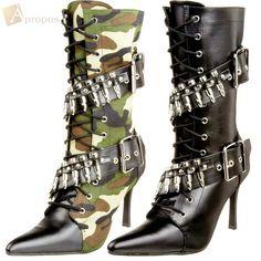 Stiefel 9,5cm Military Damen Schwarz Oliv High Heel Stilettos Apropos