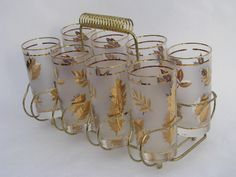 Mom had these .... Golden Foliage Vintage Glassware by Libbey c: