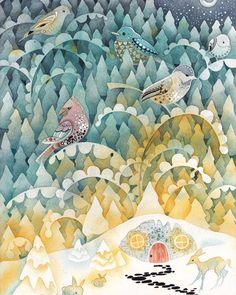 """194 次赞、 3 条评论 - çizgili masallar (@cizgilimasallar) 在 Instagram 发布:""""#watercolor by @erinvaganos ❄❄#illustration #winter #instaart #instaartist #snow"""""""