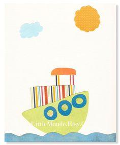 Baby Boy Nursery Art Print, NURSERY ART, NURSERY Print, Personalized Nursery Print, Orange Nursery Art. $16.00, via Etsy.