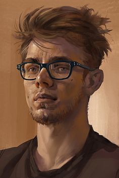 """Autoportrait"" - Simon Gocal {figurative artist male head study man face self-portrait cropped digital painting}"