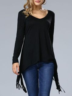 Casual Deep V-Neck Fringe Plain Long Sleeve T-Shirt