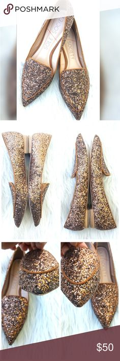 Sole Society Smoking Slippers Fabulous bronze glitter pointed toe slip on shoes.  Perfect for the holidays! Dress them up with a cute dress or casual with jeans, chunky ivory sweater and infinity  scarf! Sole Society Shoes Flats & Loafers