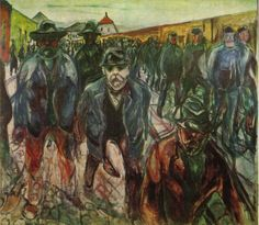 Edvard Munch - Workers returning at home 1915
