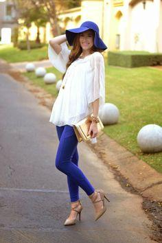 Cobalt blue, gold clutch, felt floppy hat, red soles, michael kors watch
